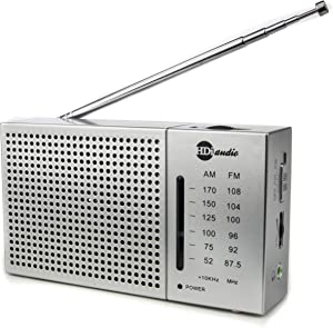 HDi Audio Portable Compact AM/FM Radio with Built in Speakers + Headphone Jack Pocket Novelty Radio | Battery Operated |Long Range (Silver)