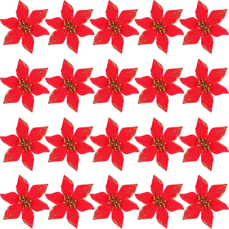 SATINIOR 20 Pezzi Natale Artificiale Fiori Glitter Poinsezia Albero di Natale Ornamento DIY Vacanza Floreali Disposizione (Oro)