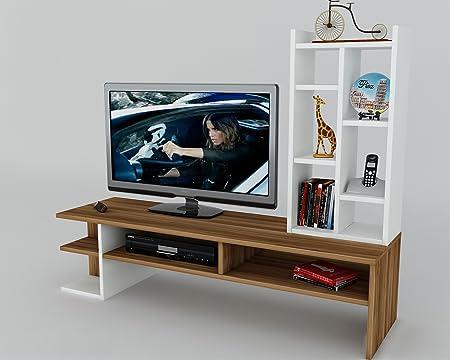 DUO Mueble salón comedor para televisión - Blanco / Nogal - Mueble bajo para televisor - Mesa de Televisión en diseño elegante: Amazon.es: Hogar