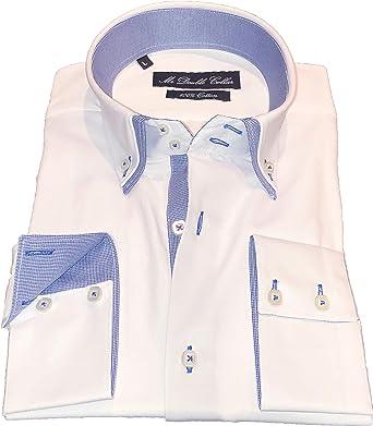 MrDoubleCollar - Camisa de manga larga para hombre, diseño italiano, color blanco Blanco con cuadros azules. M: Amazon.es: Ropa y accesorios