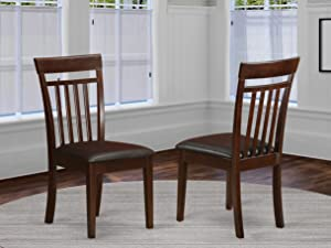 Capri slat backChair for dining room with Leather Upholstered Seat