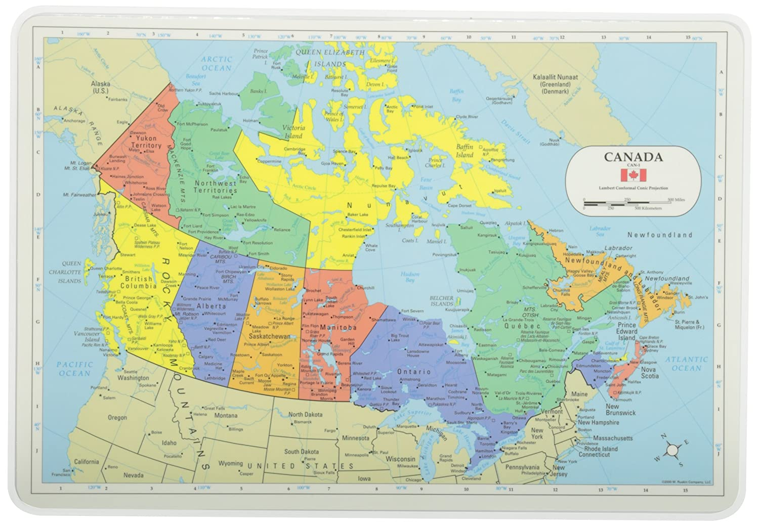 Amazoncom Painless Learning Canada Map Placemat Home  Kitchen - Map us 81