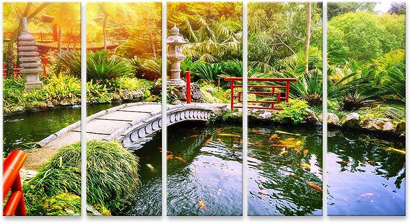 Cuadros de Salon Jardín japonés con Peces koi Nadando en el Estanque. Fondo de la Naturaleza Cuadro Decoracion de Pared Impresión en Lienzo Formato Grande Modernos PIG-5P-N: Amazon.es: Hogar