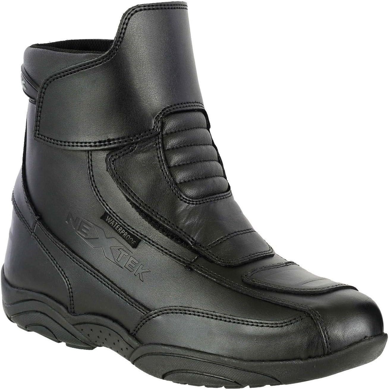 impermeables tobillo corto de Armour trainers Botas de piel genuina color negro para motocicleta si cremallera