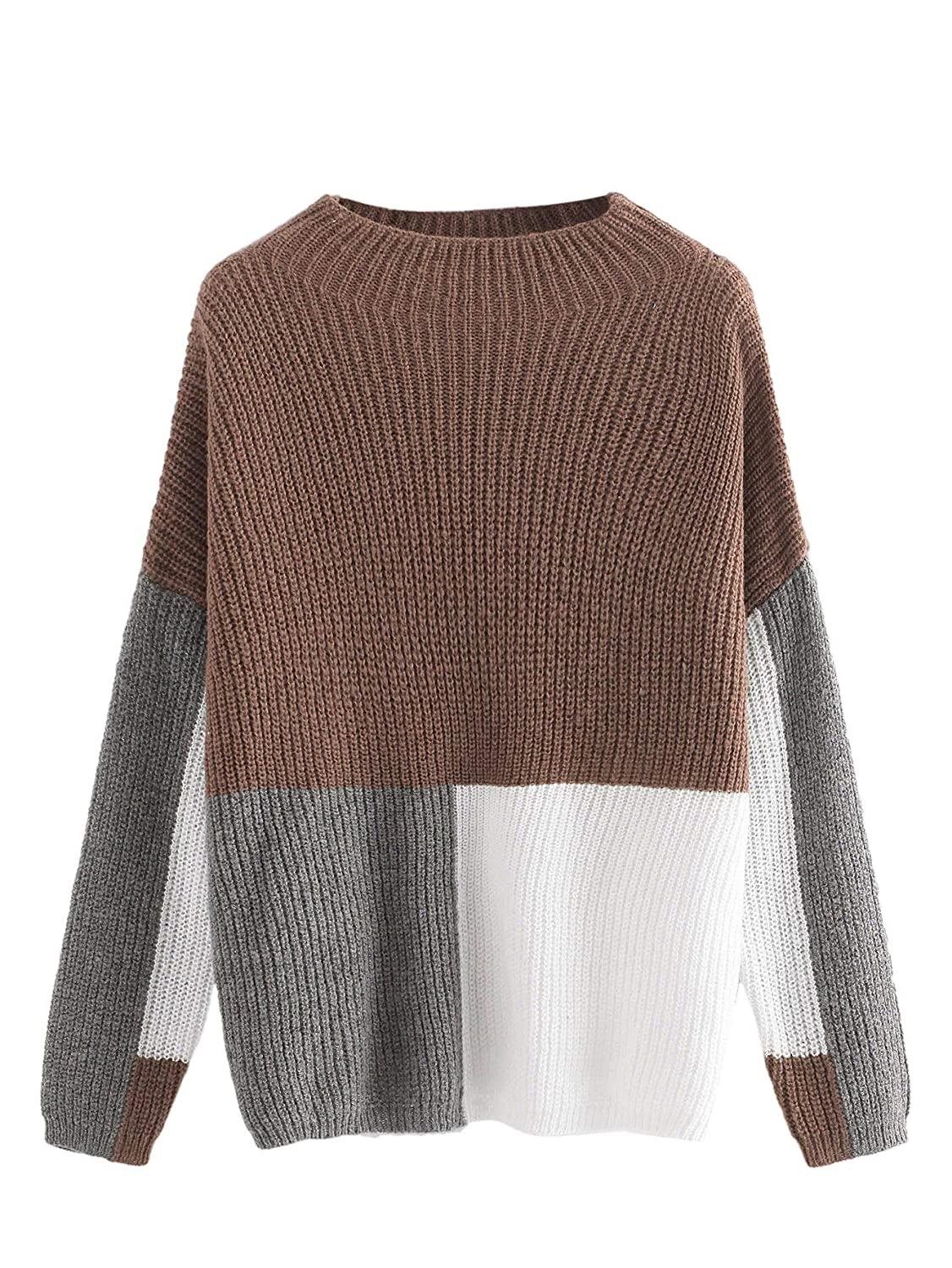 Milumia Women's Drop Shoulder Color Block Textured Jumper Casual Sweater