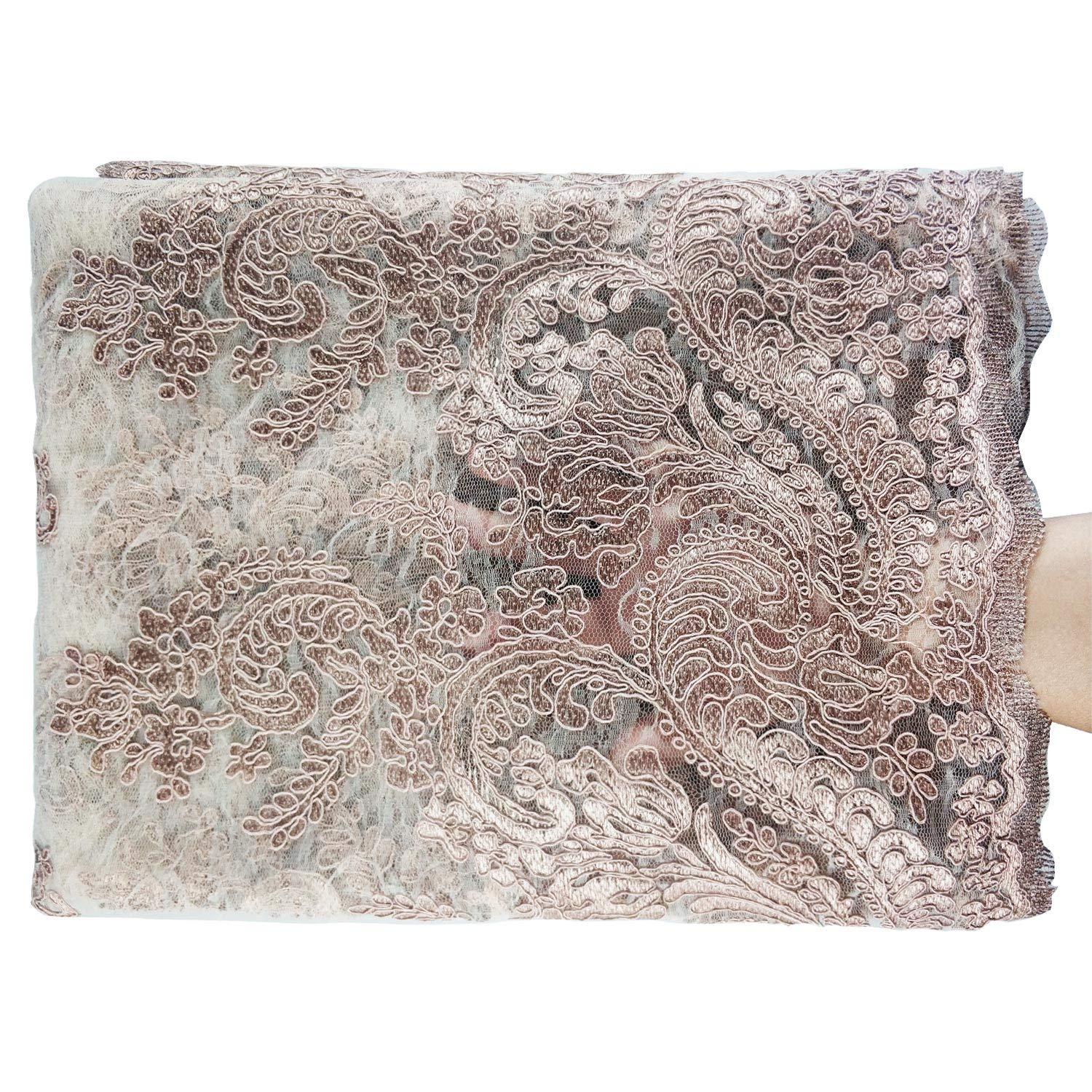 NJHG Lace Fabric 5 Yards Net Cord Embroidery with Pearls Attached by Hand Tulle Fabric Embroidered with Cord Lace and Hand Attached Pearls for Party Wedding /…