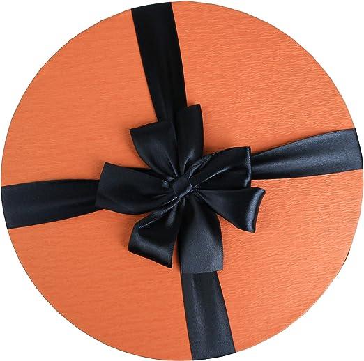 Interno a Quadri Bianchi e Blu Scuro Raso Nastro Decorativo Scatola Arancione Emartbuy Set di 4 Lusso Rigido Cilindrico Confezione Regalo di Presentazione