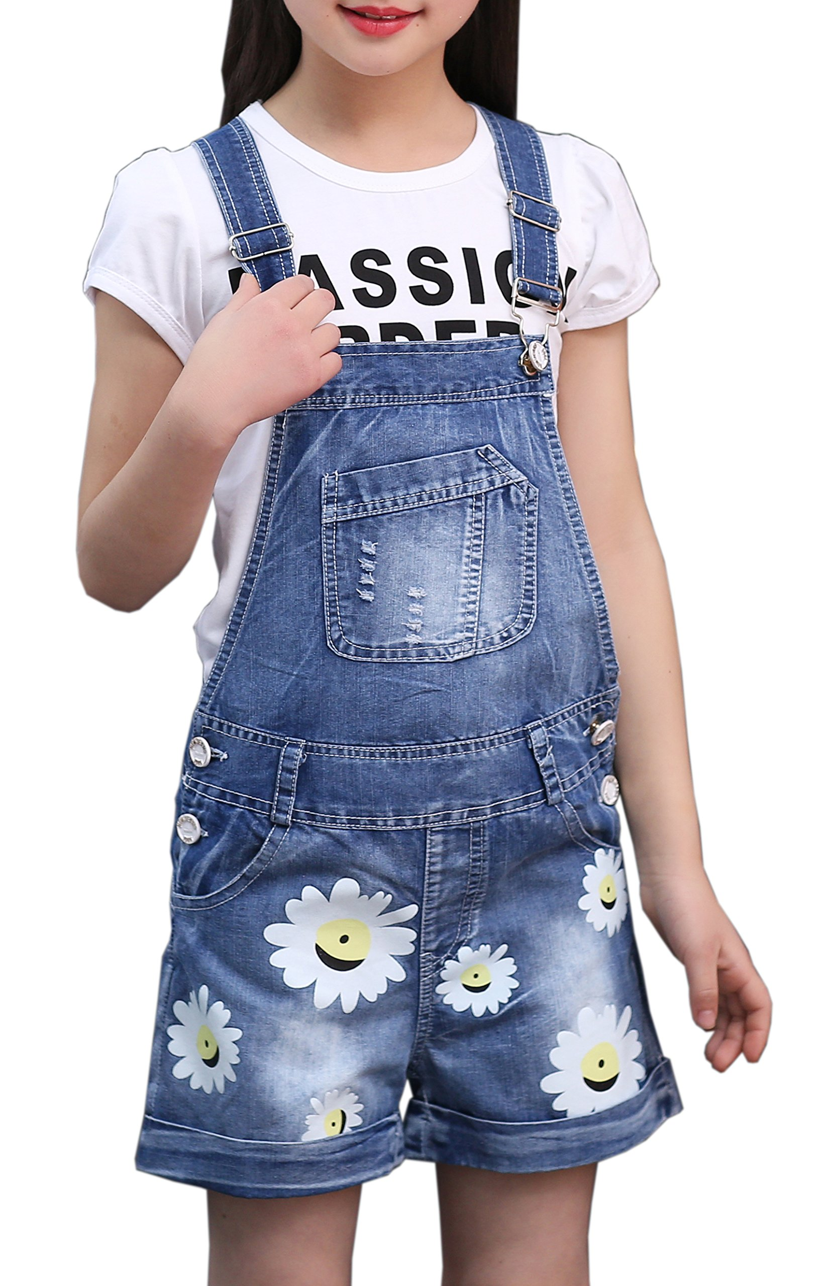 Sitmptol Kid Girls Sunny Flower Jumpsuit BF Jeans Distressed Shorts Overalls with T-Shirt
