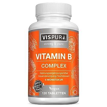 Vitamina B Complex, altamente concentrada, 120 comprimidos veganos, todas las vitaminas B sin