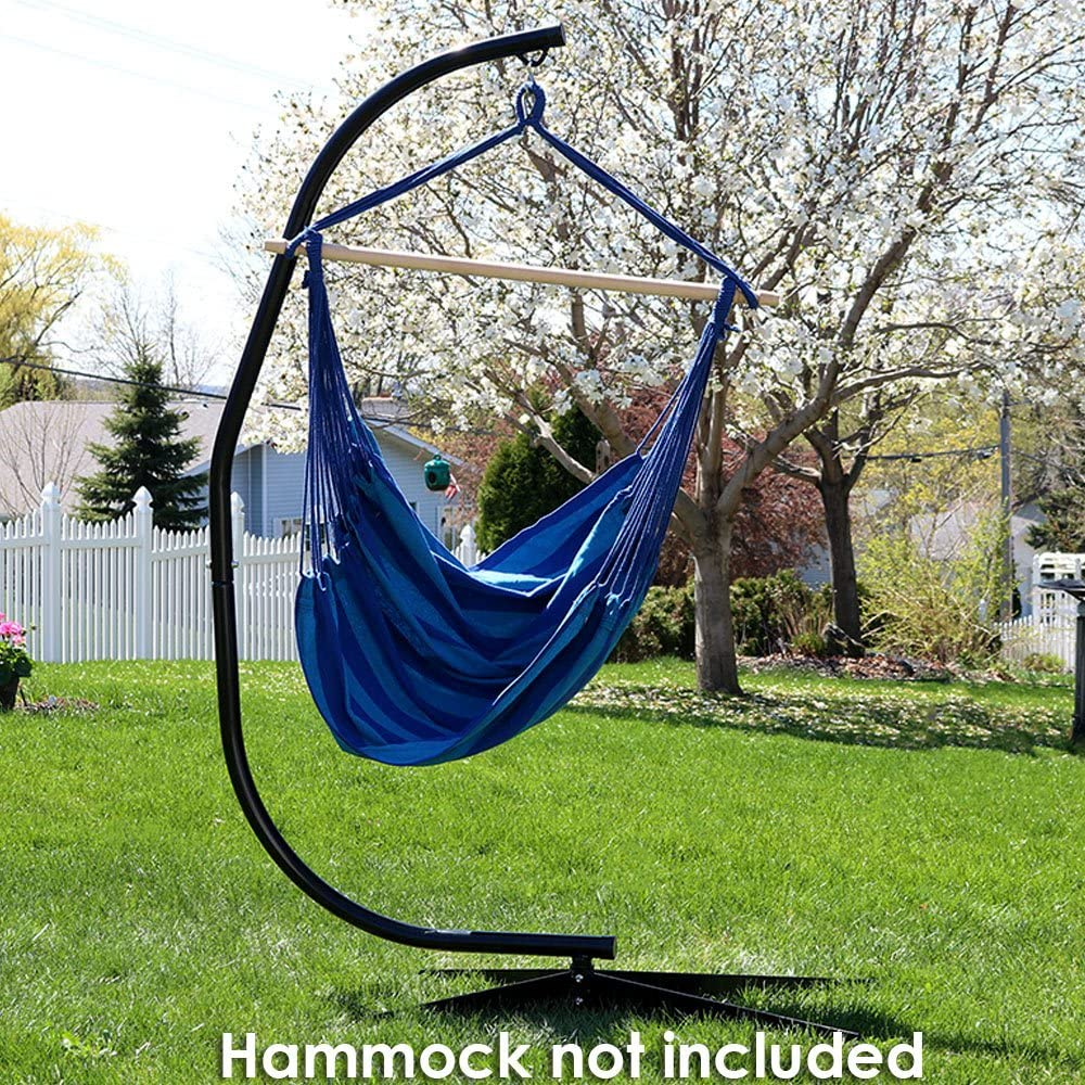 """Sunnydaze """"C"""" Stand for Hanging Hammock Chairs - 84"""" Height - 300 lbs Weight Capacity"""