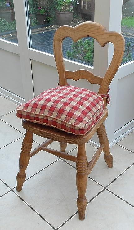 Cuscino per sedia in stile country a quadretti rossi e beige: Amazon ...