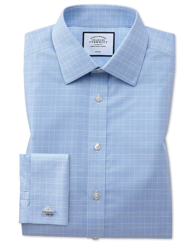 Charles Tyrwhitt Camisa Azul Celeste de Corte clásico a Cuadros ...