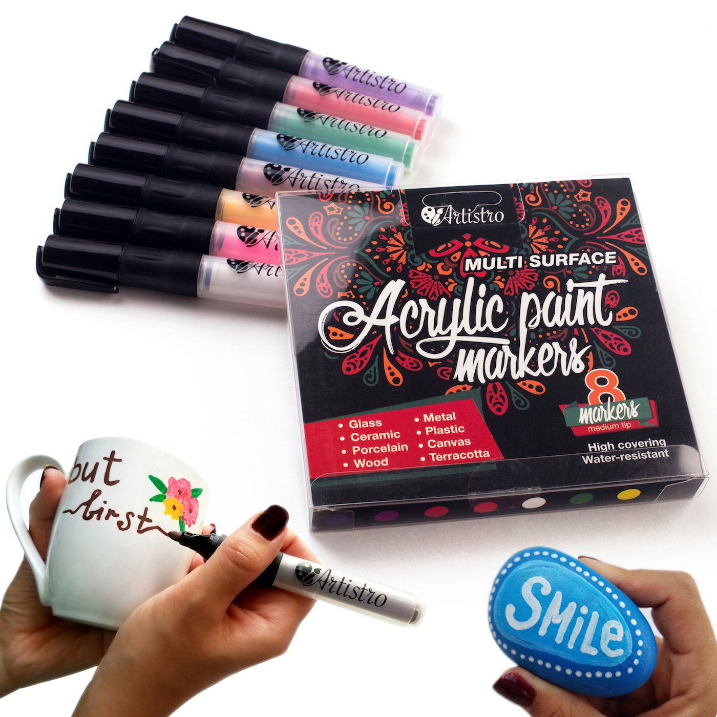 Amazon permanent paint pens for glass painting ceramic amazon permanent paint pens for glass painting ceramic porcelain rock wood fabric canvas best choice for custom mug design rock painting dailygadgetfo Images