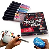 Permanent Paint Pens for Glass painting, Ceramic, Porcelain, Rock, Wood, Fabric, Canvas. Best Choice for Custom Mug design, Rock painting, DIY projects. Set of 8 Acrylic Paint Markers, Medium point