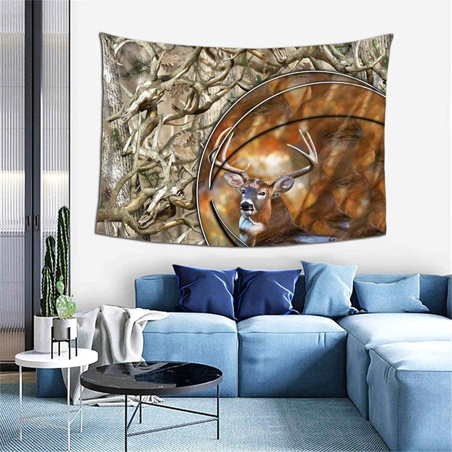 Hunting Camo Decor Tapestry - Realistic Deer Skull Camouflage Hippie Art Tapestry Wall Hanging for Bedroom Living Room College Dorm - TV Backdrop Ethnic Wall Blankets Tapestry 60X40 Inches