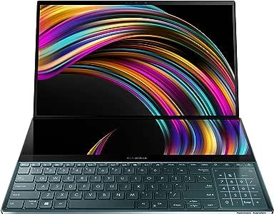 "Asus ZenBook Pro Duo UX581 15.6"" 4K UHD NanoEdge Bezel Touch, Intel Core i7-9750H, 16GB RAM, 1TB PCIe SSD, GeForce RTX 2060, Innovative Screenpad Plus, Windows 10 Pro, Celestial Blue, UX581GV-XB74T"