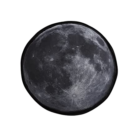 My World LHK-PILLOWBLANKET Moon Printed Round Decorative Pillow, 15 Pillow