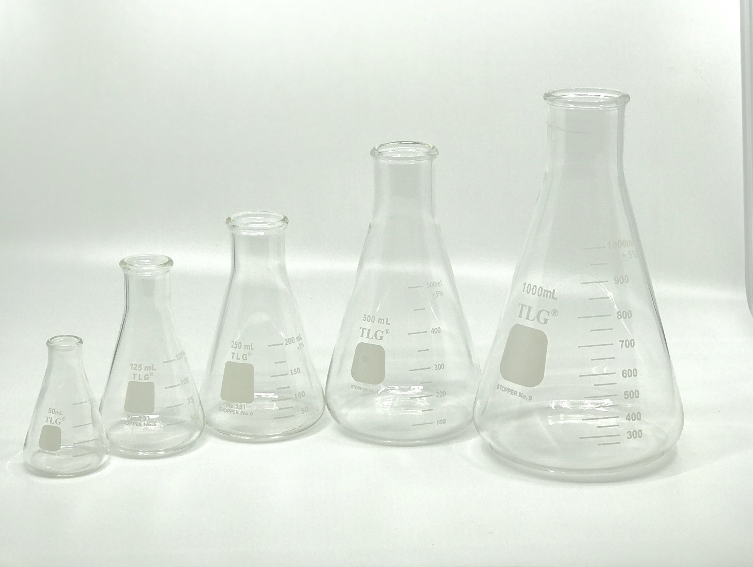 Chem Science INC 231.202.SE5 Erlenmeyer Flask Set, Narrow Neck with Graduation, 50, 125, 250, 500, 1000 mL (Pack of 5)