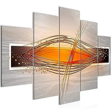 Amazon.de: Bilder Abstrakt Wandbild 150 x 100 cm Vlies - Leinwand ...