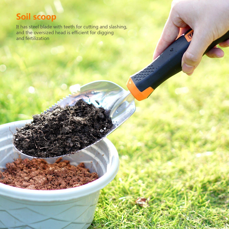 Gartenger/äte zum Unkrautj/äten Handschaufel Verpflanzen TACKLIFE Gartenwerkzeug Sets Pflanzkelle Gartenschere Propfen Gartenger/äte aus Edelstahl 3in1