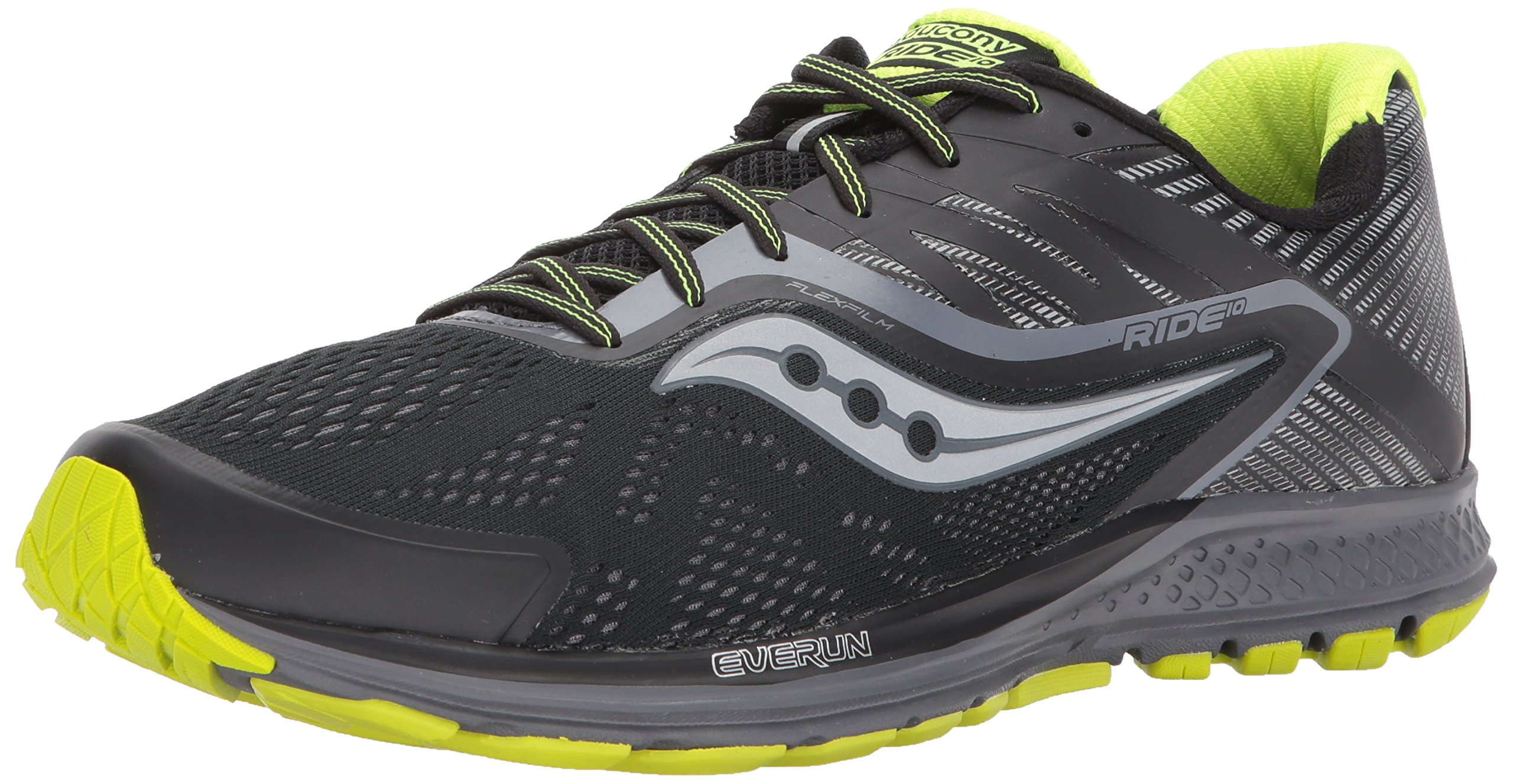Saucony Men's Ride 10 Running Shoe, Black Citron, 12.5 M US