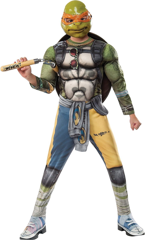Rubies Costume Kids Teenage Mutant Ninja Turtles 2 Deluxe Michelangelo Costume, Small