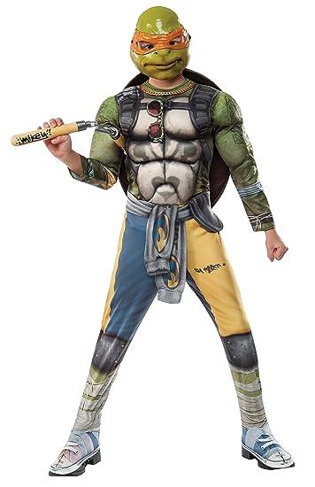 Rubies Costume Kids Teenage Mutant Ninja Turtles 2 Deluxe Michelangelo Costume, Large