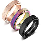 XCOIN 3Pcs Stainless Steel Spinner Rings for Women Mens Cool Fidget Band Rings 6MM Wide Sandblast Finish Lucky Stress Relievi