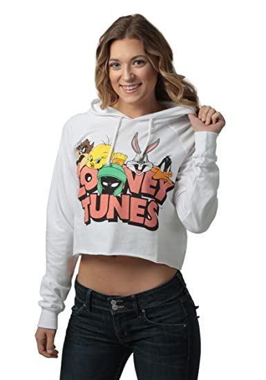 78cab51df97d4 Freeze Juniors womens Looney Tunes Juniors Cropped Pullover Hooded  Sweatshirt Large
