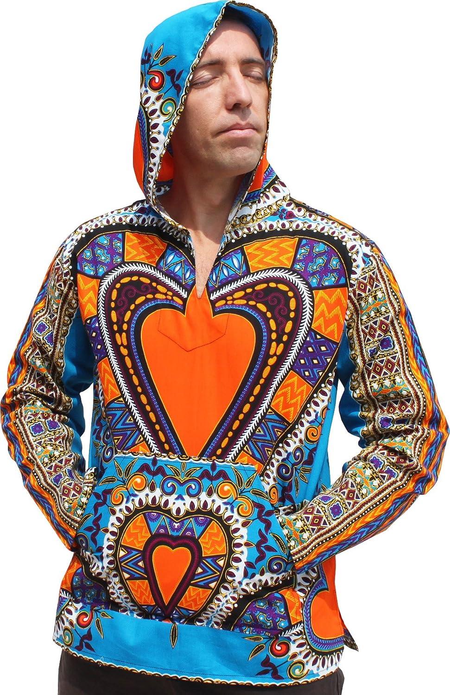 Bright blueee XXLarge Raan Pah Muang RaanPahMuang Thin Bright Dashiki Heart Art Windbreaker Hoody Jacket Long Sleeve