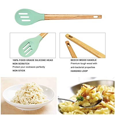 Buy Kitchen Utensil Set Cooking Utensils Set Silicone Cooking Utensil Wooden Spatula Set 6 Piece Kitchen Gadgets Tools By All American Kitchen Online In Indonesia B07ndq4zfd