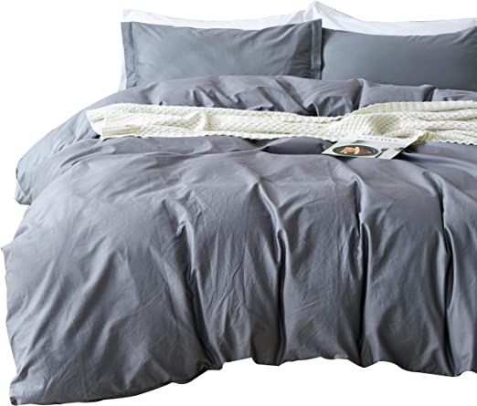 ALL SIZES Beige /& Ivory Reversible Cotton Duvet Cover AND Pillow Shams