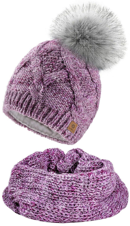 4sold Frauen Damen M/ütze Pom Pom Warm Winter Nat/ürlich Wolle Alpaka Futter Micropolar
