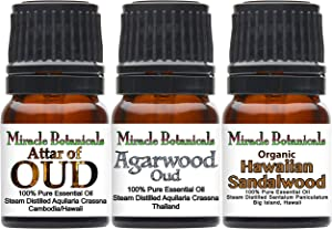 Miracle Botanicals Exotic Rare Wood Sampler Essential Oil Set - 100% Pure Therapeutic Grade - (3)2.5ml