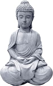 Kante R141006-C80021 Lightweight Sitting Meditating Buddha Zen Indoor Outdoor Statue, Natural Concrete
