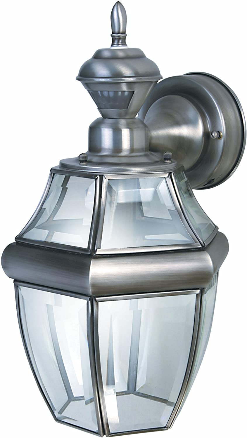 Polished B... Heath Zenith HZ-4170-PB Motion-Activated Six-Sided Carriage Light
