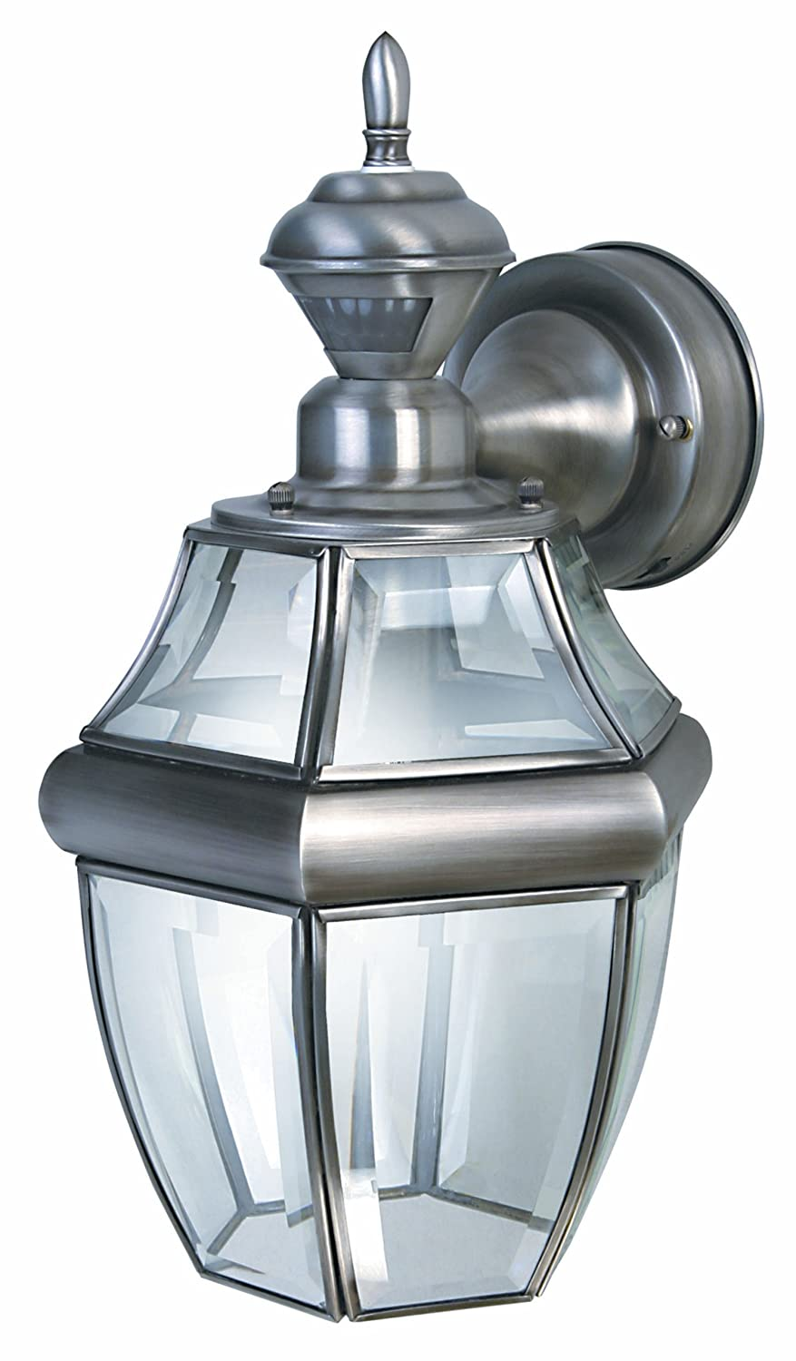 Heath zenith sl 4166 sa motion activated six sided carriage light heath zenith sl 4166 sa motion activated six sided carriage light silver with beveled glass wall porch lights amazon workwithnaturefo