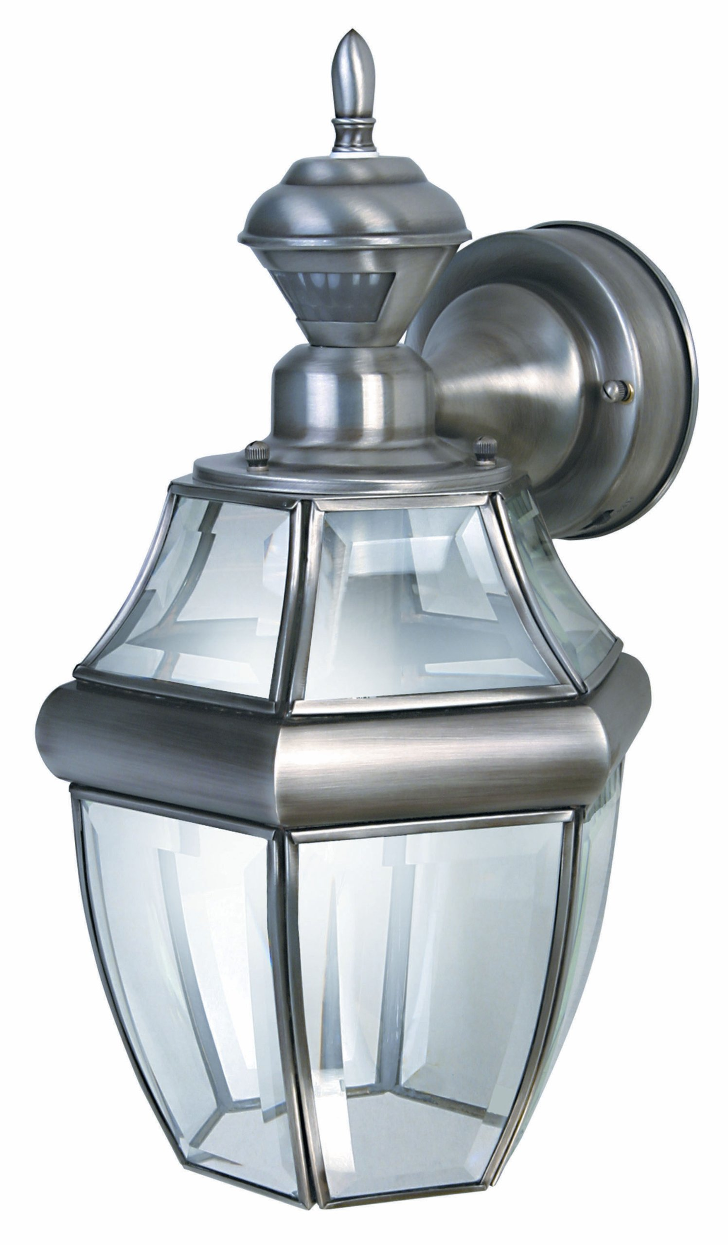 Heath/Zenith SL-4166-SA HZ-4166-SA Motion-Activated Six-Sided Carriage Light, Silver with Beveled Glass, 9.88 x 9.88 x 9.88, Antique by Heath/Zenith