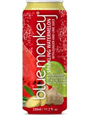 BLUE MONKEY Blue Monkey Sparkling Watermelon Juice 55% w/Ginger & Lime, Watermelon with Ginger and Lime, 12 Count