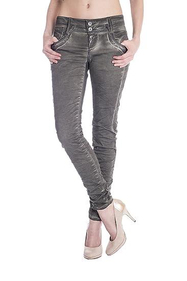 08e1e8951dbf Blue Monkey Damen Skinny Jeans mit offener Knopfleiste Anny-1330 Khaki