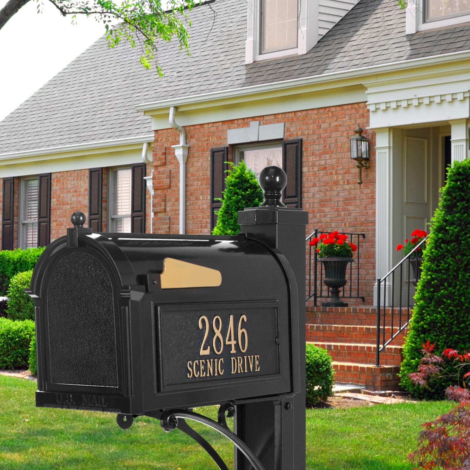 Whitehall Products Deluxe Mailbox Package - Black by Whitehall (Image #2)