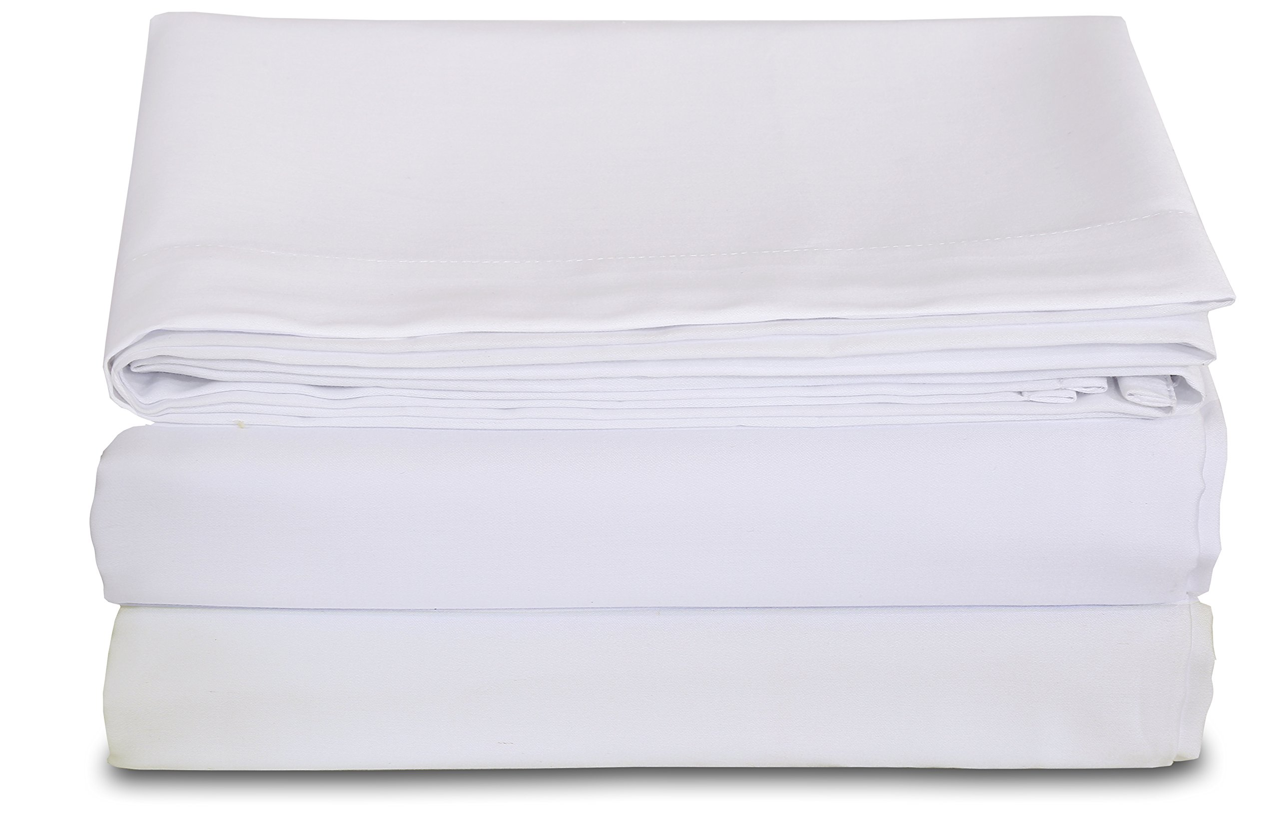 Excellent Deals Flat Sheet (Full, White) - 2 Inches Self Hem - brushed microfiber - super soft breathable and comfortable, Easy Iron - wrinkle free, fade and stain resistant bed sheet