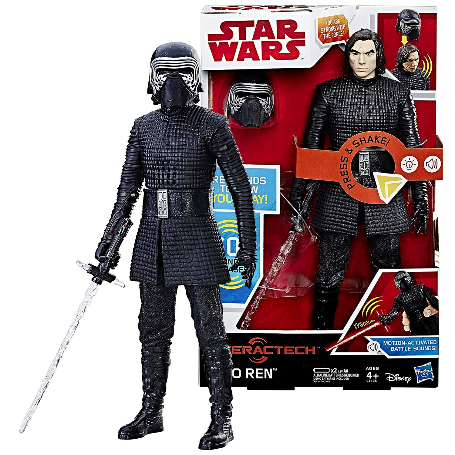 Kylo REN with Light-Up Lightsaber and Motion Activated Sounds Plus Removable Helmet HSB SW Star Wars Year 2017 The Last Jedi Series 12 Inch Tall Interactech Electronic Figure