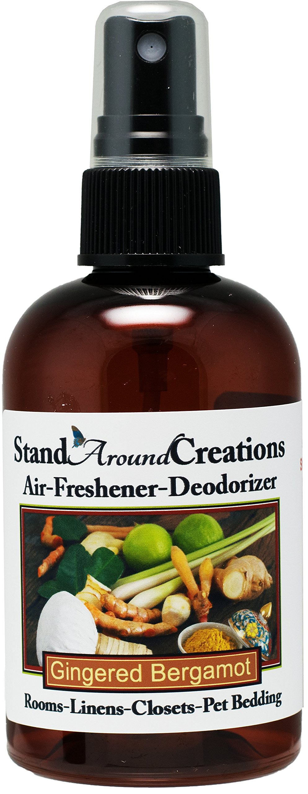 Concentrated Spray For Room / Linen / Room Deodorizer / Air Freshener - 4 fl oz - Scent - Gingered Bergamot: A tantalizing fragrance that blends the fresh citrus bergamot with exotic spices such as ginger, sandalwood, patchouli, & basil.