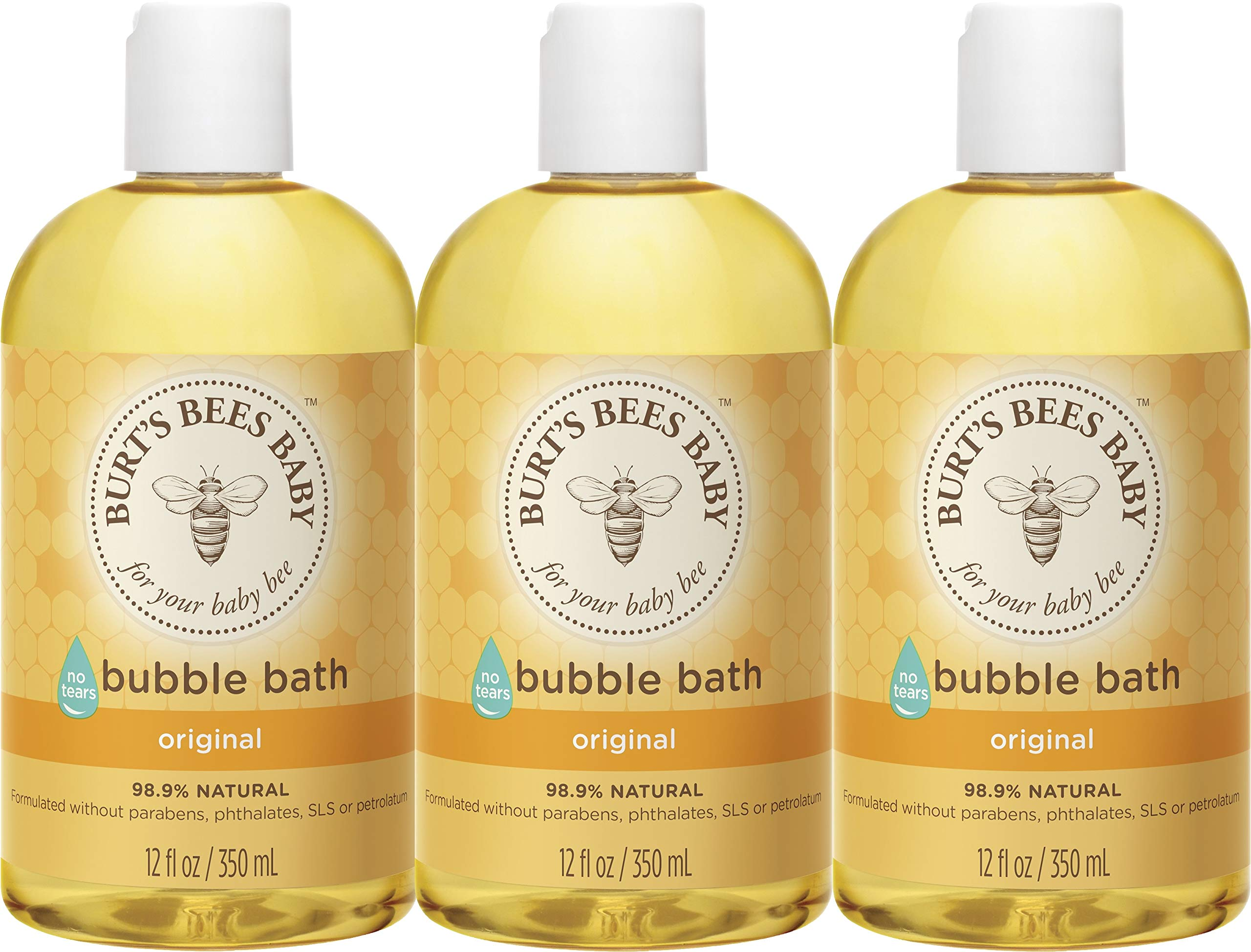 Burts Bees Baby Bubble Bath, Tear Free Baby Wash – 12 Ounce Bottle – Pack of 3
