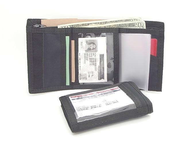 nylon rfid trifold wallet w outside inside id window lapd very