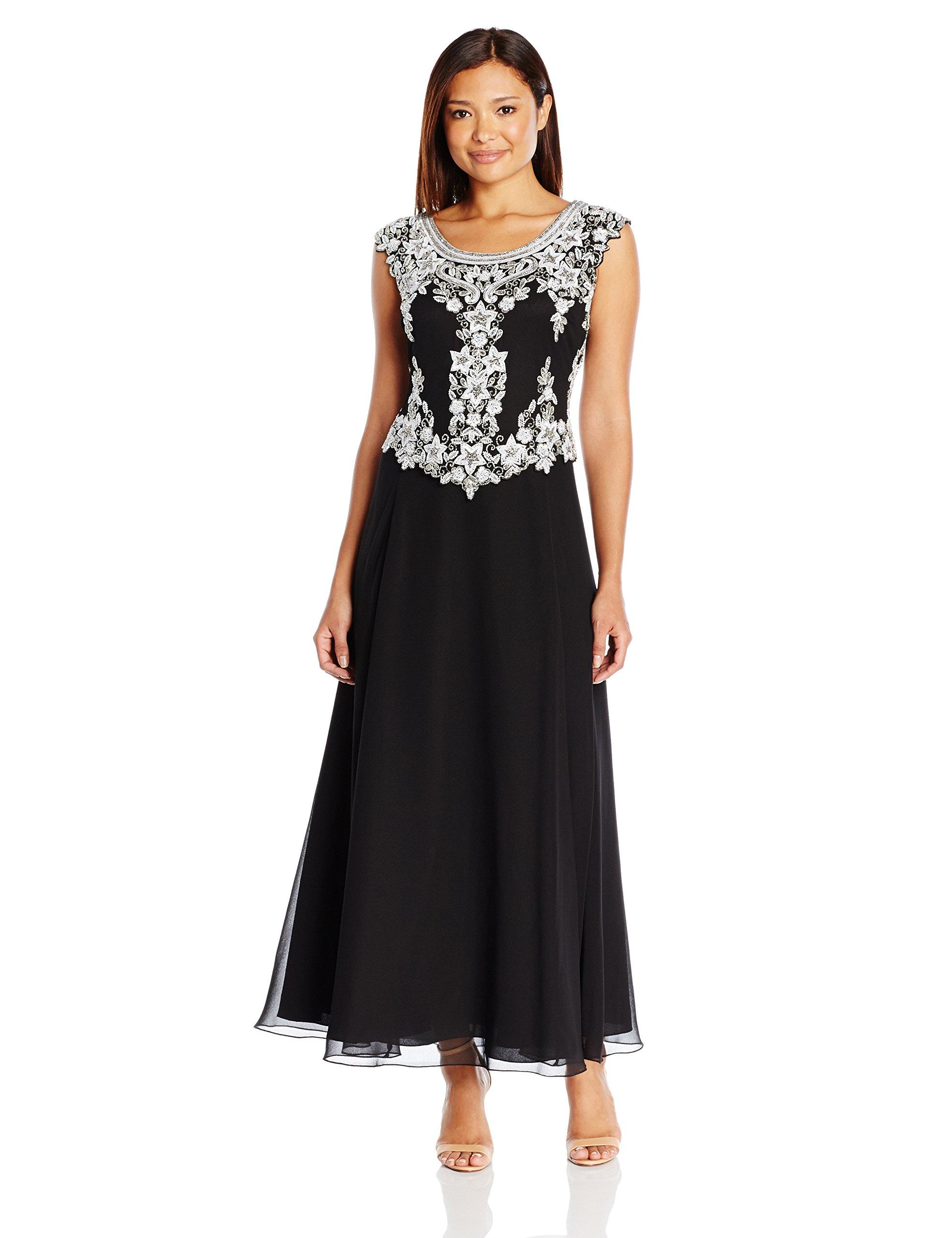 J Kara Women's Petite Cap Sleeve Beaded Top Long Dress, Black/White/Silver, 14P