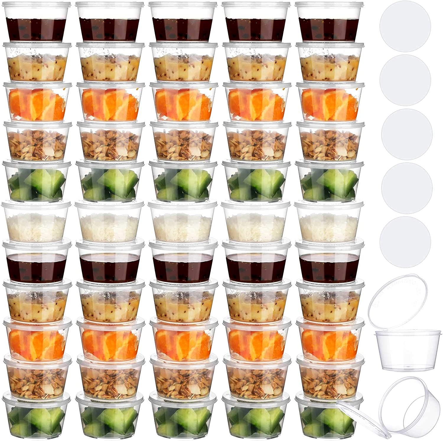 Loyim 60 Pieces BPA-Free Baby Food Freezer Storage Containers Leak-Proof Baby Plastic Deli Containers and 2 Sheet White Sticker Label for Toddlers Baby Food or Snacks Storage