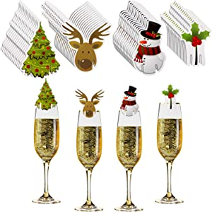 60 Pieces Christmas Wine Glass Decorations Cup Cards Christmas Goblet Markers Table Decoration for Christmas Party Supplies, 4 Styles