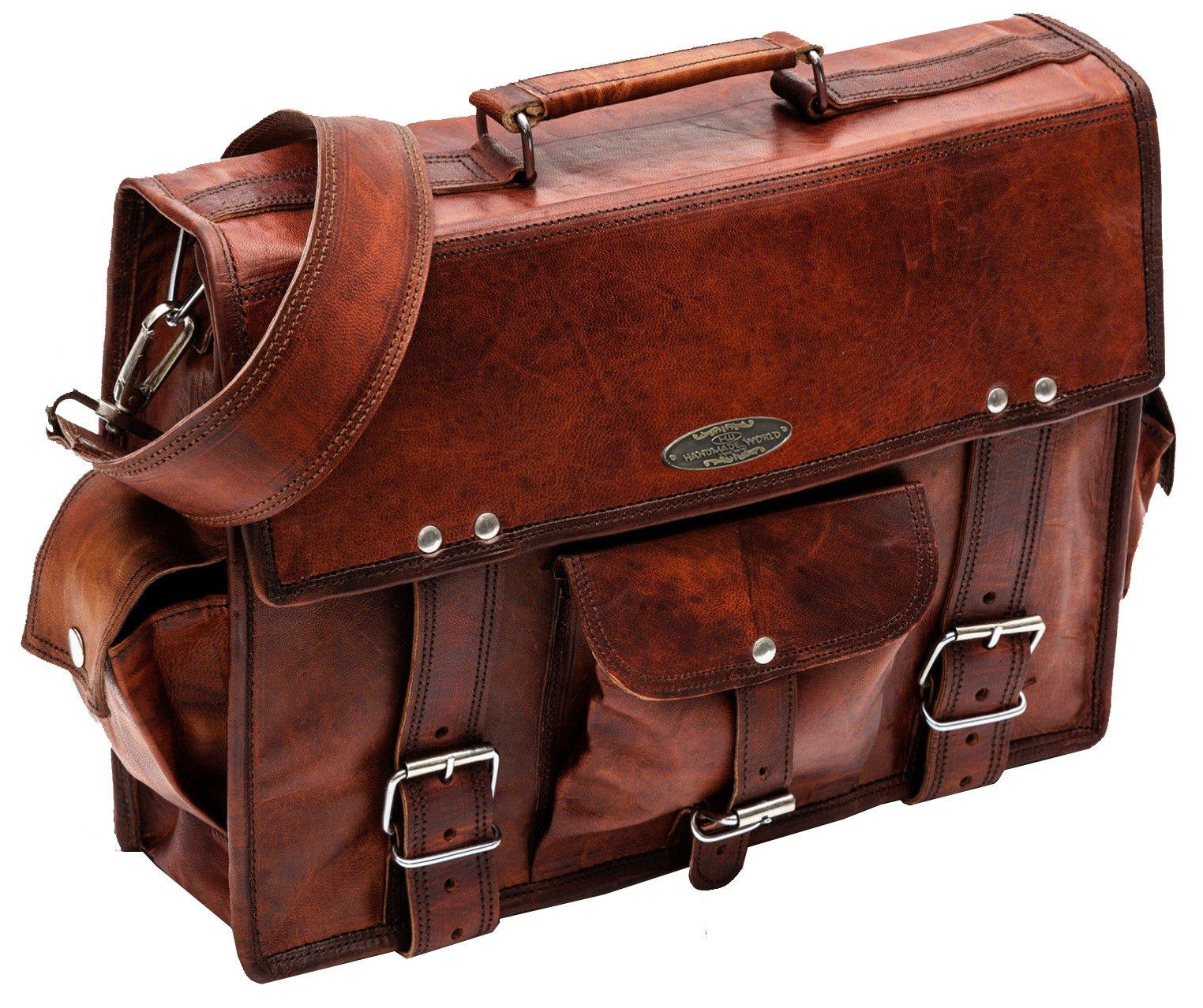 Handmade_world Leather Messenger Bags 15'' for Men Women Mens Briefcase Laptop Computer Satchel School Distressed Bag